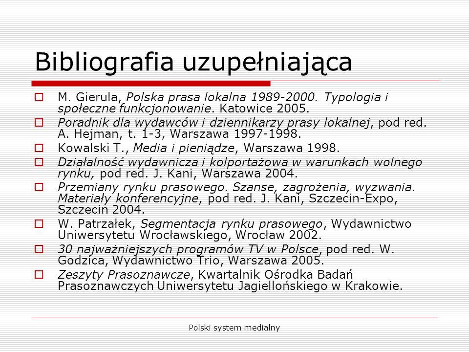 Polski system medialny Bibliografia uzupełniająca M. Gierula, Polska prasa lokalna 1989-2000. Typologia i społeczne funkcjonowanie. Katowice 2005. Por