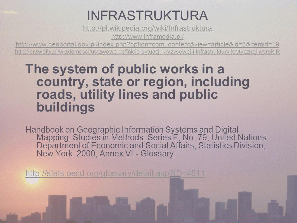 INFRASTRUKTURA http://pl.wikipedia.org/wiki/Infrastruktura http://www.inframedia.pl/ http://www.geoportal.gov.pl/index.php?option=com_content&view=art