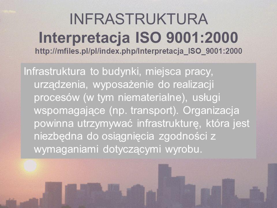 INFRASTRUKTURA Interpretacja ISO 9001:2000 http://mfiles.pl/pl/index.php/Interpretacja_ISO_9001:2000 Infrastruktura to budynki, miejsca pracy, urządze