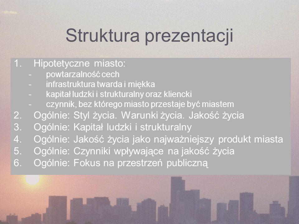 Struktura prezentacji 1.Hipotetyczne miasto: -powtarzalność cech -infrastruktura twarda i miękka -kapitał ludzki i strukturalny oraz kliencki -czynnik