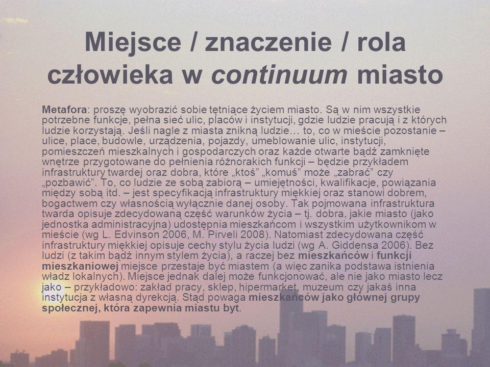 Miejsce / znaczenie / rola człowieka w continuum miasto Metafora: proszę wyobrazić sobie tętniące życiem miasto. Są w nim wszystkie potrzebne funkcje,