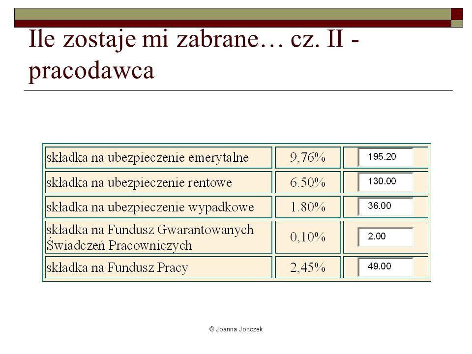 © Joanna Jonczek Ile zostaje mi zabrane… cz. II - pracodawca