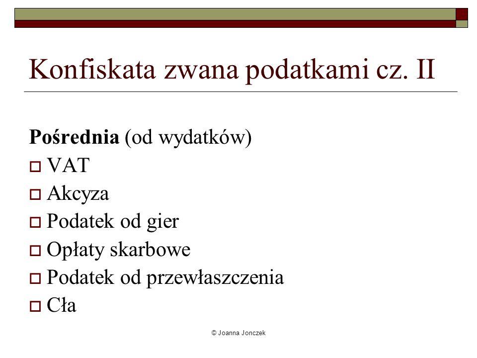 © Joanna Jonczek Konfiskata zwana podatkami cz. II Pośrednia (od wydatków) VAT Akcyza Podatek od gier Opłaty skarbowe Podatek od przewłaszczenia Cła