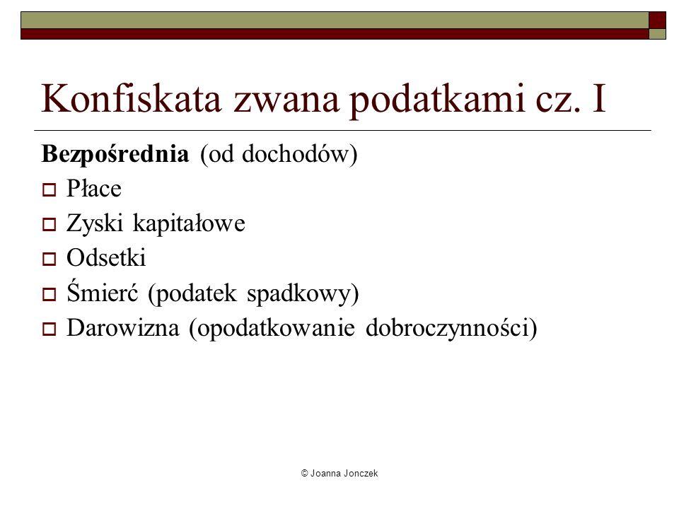 © Joanna Jonczek Konfiskata zwana podatkami cz. I Bezpośrednia (od dochodów) Płace Zyski kapitałowe Odsetki Śmierć (podatek spadkowy) Darowizna (opoda
