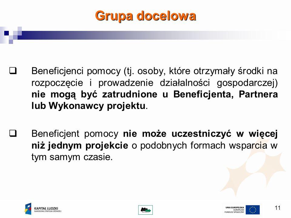 11 Grupa docelowa Beneficjenci pomocy (tj. osoby, które otrzymały środki na rozpoczęcie i prowadzenie działalności gospodarczej) nie mogą być zatrudni