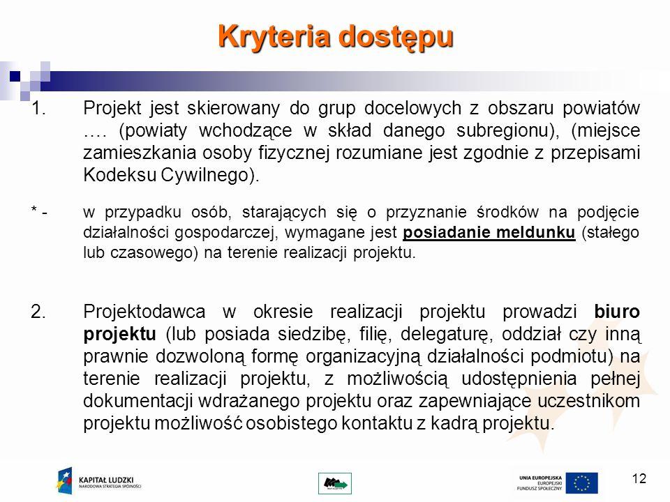 12 Kryteria dostępu 1.Projekt jest skierowany do grup docelowych z obszaru powiatów …. (powiaty wchodzące w skład danego subregionu), (miejsce zamiesz