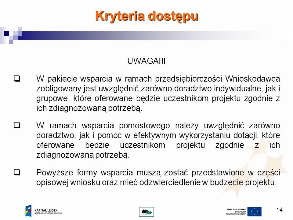 14 Kryteria dostępu UWAGA!!! W pakiecie wsparcia w ramach przedsiębiorczości Wnioskodawca zobligowany jest uwzględnić zarówno doradztwo indywidualne,