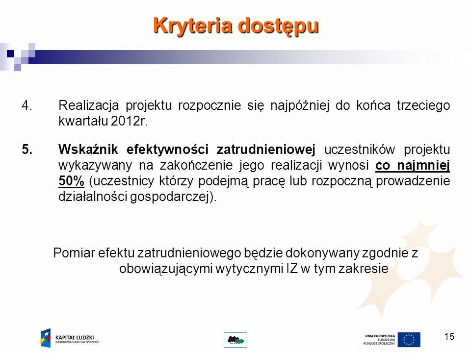 15 Kryteria dostępu 4.Realizacja projektu rozpocznie się najpóźniej do końca trzeciego kwartału 2012r. 5.Wskaźnik efektywności zatrudnieniowej uczestn