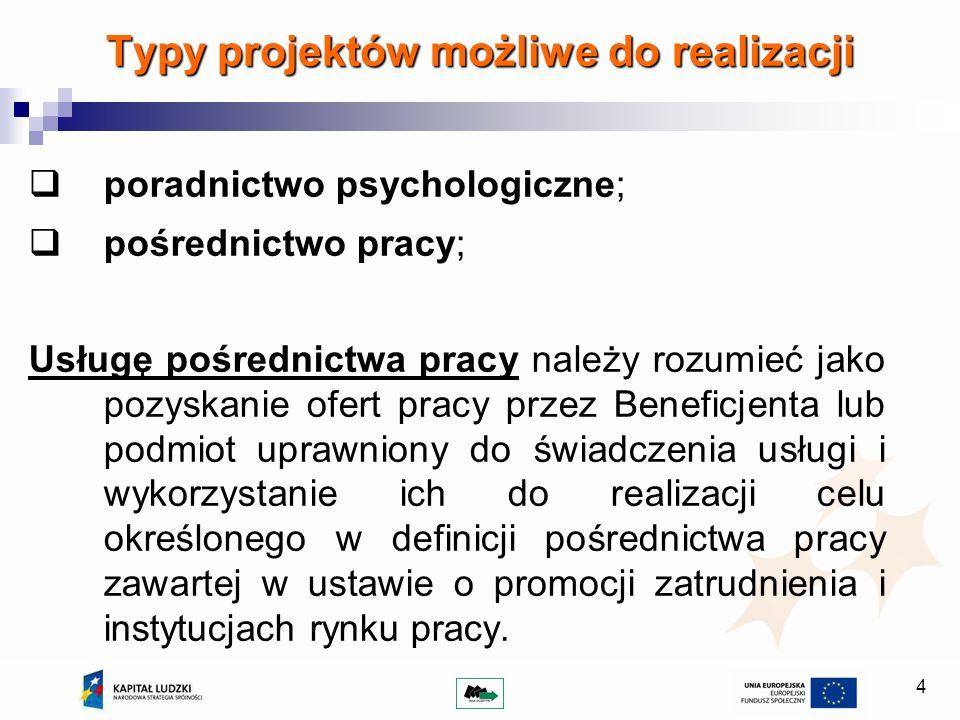 4 Typy projektów możliwe do realizacji poradnictwo psychologiczne; pośrednictwo pracy; Usługę pośrednictwa pracy należy rozumieć jako pozyskanie ofert