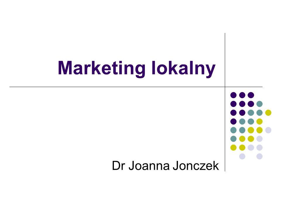 Joanna Jonczek Marketing lokalny Adresowany do jednostek i grup społecznych na różnych poziomach organizacji społeczno- państwowej w zakresie: Kształtowania określonych postaw Podejmowania decyzji o charakterze wyborczym