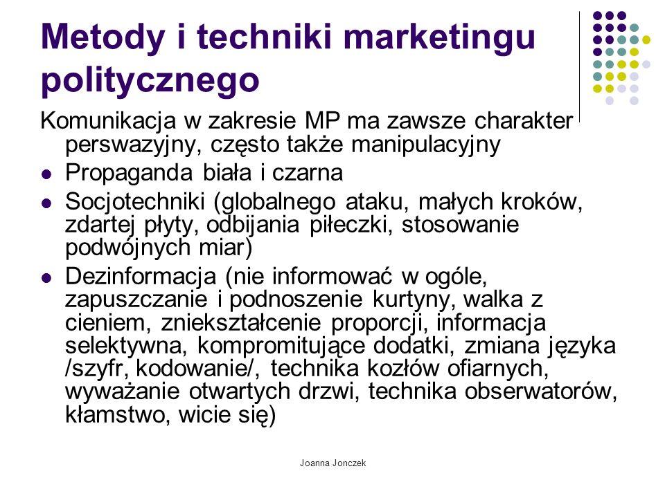 Metody i techniki marketingu politycznego Komunikacja w zakresie MP ma zawsze charakter perswazyjny, często także manipulacyjny Propaganda biała i cza