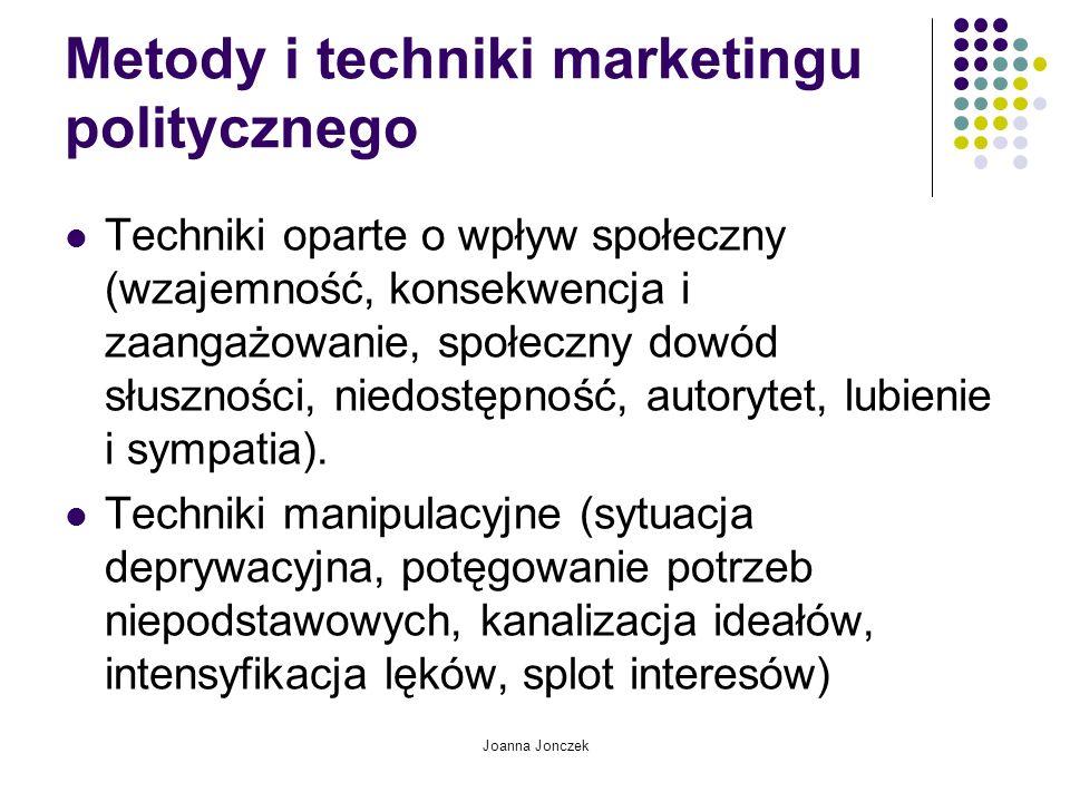 Joanna Jonczek Metody i techniki marketingu politycznego Techniki oparte o wpływ społeczny (wzajemność, konsekwencja i zaangażowanie, społeczny dowód