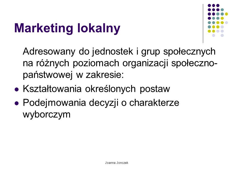 Joanna Jonczek Marketing lokalny Adresowany do jednostek i grup społecznych na różnych poziomach organizacji społeczno- państwowej w zakresie: Kształt
