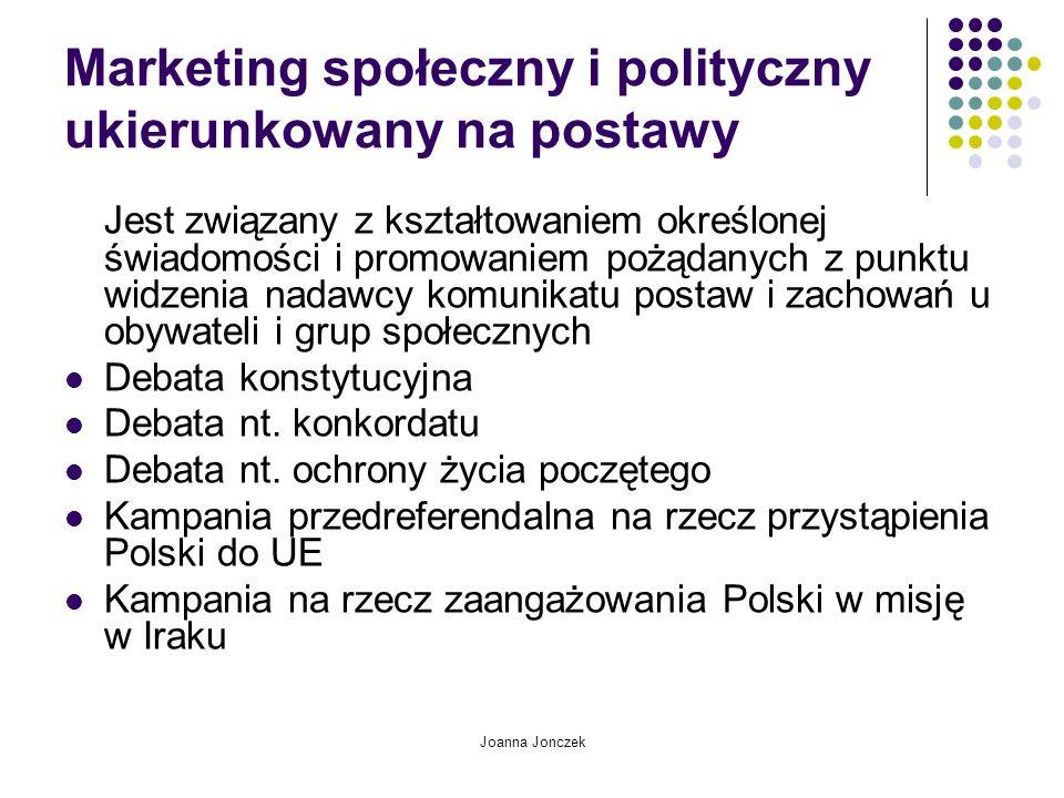 Joanna Jonczek Marketing społeczny i polityczny ukierunkowany na postawy Jest związany z kształtowaniem określonej świadomości i promowaniem pożądanyc