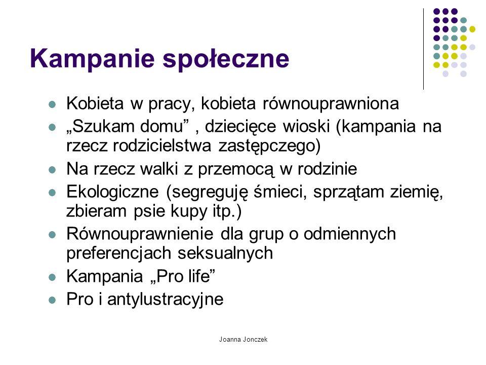 Joanna Jonczek Kampanie społeczne Kobieta w pracy, kobieta równouprawniona Szukam domu, dziecięce wioski (kampania na rzecz rodzicielstwa zastępczego)