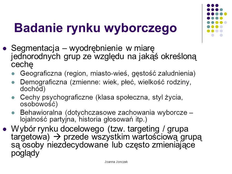 Joanna Jonczek Badanie rynku wyborczego Segmentacja – wyodrębnienie w miarę jednorodnych grup ze względu na jakąś określoną cechę Geograficzna (region
