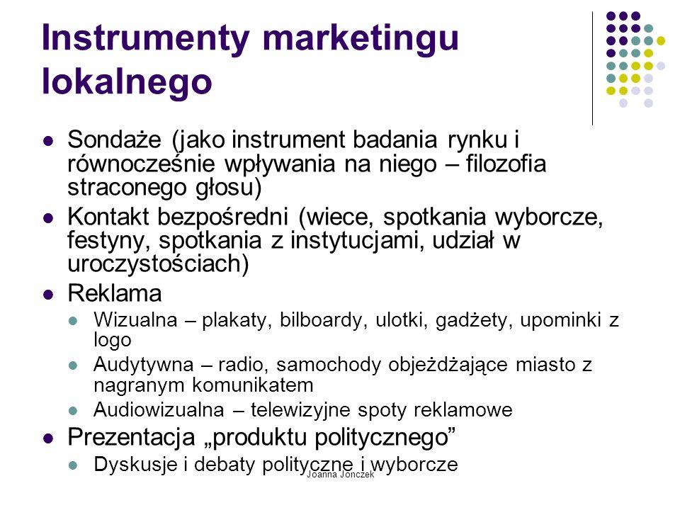 Joanna Jonczek Instrumenty marketingu lokalnego Sondaże (jako instrument badania rynku i równocześnie wpływania na niego – filozofia straconego głosu)