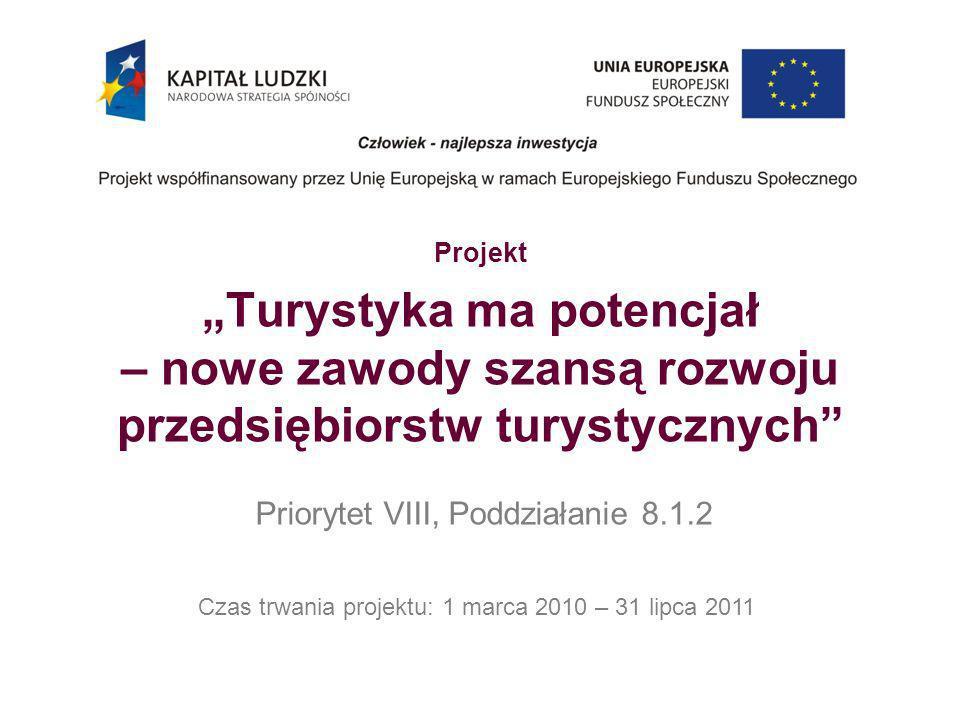 Projekt Turystyka ma potencjał – nowe zawody szansą rozwoju przedsiębiorstw turystycznych Priorytet VIII, Poddziałanie 8.1.2 Czas trwania projektu: 1
