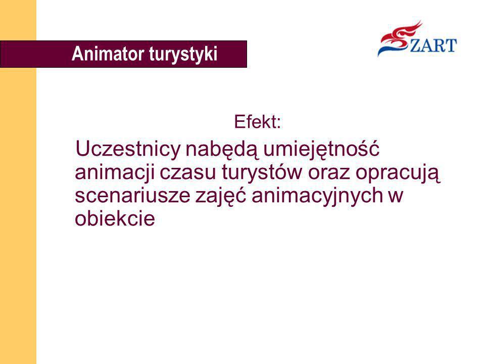 Animator turystyki Efekt: Uczestnicy nabędą umiejętność animacji czasu turystów oraz opracują scenariusze zajęć animacyjnych w obiekcie