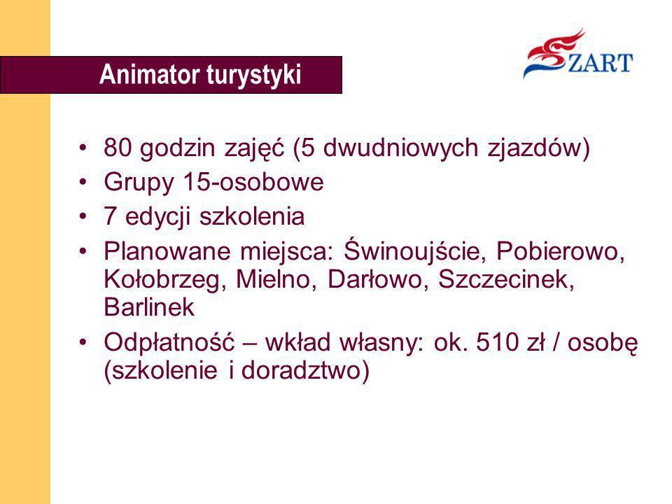 Animator turystyki 80 godzin zajęć (5 dwudniowych zjazdów) Grupy 15-osobowe 7 edycji szkolenia Planowane miejsca: Świnoujście, Pobierowo, Kołobrzeg, M