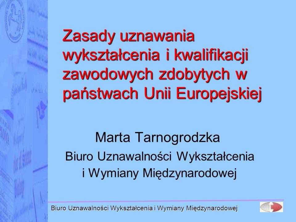 Biuro Uznawalności Wykształcenia i Wymiany Międzynarodowej Dyrektywa w polskim prawie Ustawa z dnia 18 marca 2008 r.