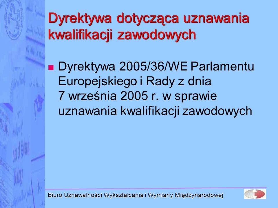 Biuro Uznawalności Wykształcenia i Wymiany Międzynarodowej Dyrektywa dotycząca uznawania kwalifikacji zawodowych Dyrektywa 2005/36/WE Parlamentu Europ