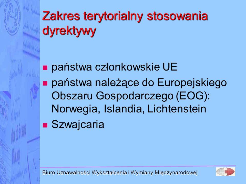 Biuro Uznawalności Wykształcenia i Wymiany Międzynarodowej Zakres terytorialny stosowania dyrektywy państwa członkowskie UE państwa należące do Europe