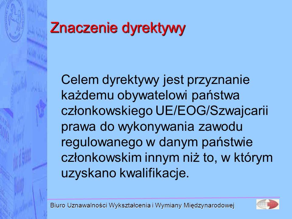 Biuro Uznawalności Wykształcenia i Wymiany Międzynarodowej Znaczenie dyrektywy Celem dyrektywy jest przyznanie każdemu obywatelowi państwa członkowski
