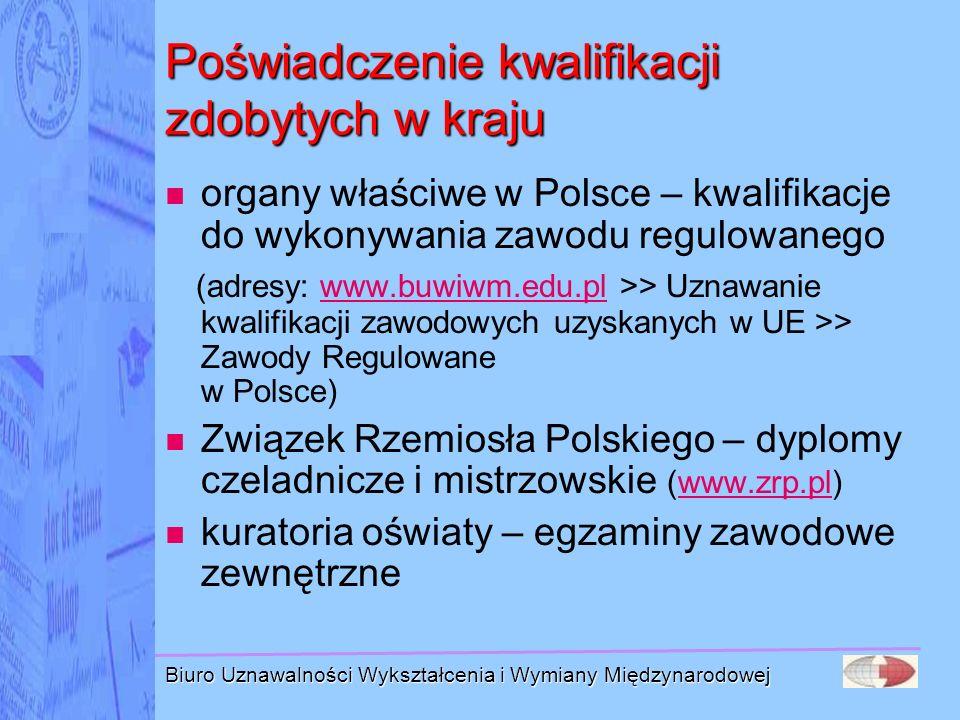 Biuro Uznawalności Wykształcenia i Wymiany Międzynarodowej Poświadczenie kwalifikacji zdobytych w kraju organy właściwe w Polsce – kwalifikacje do wyk