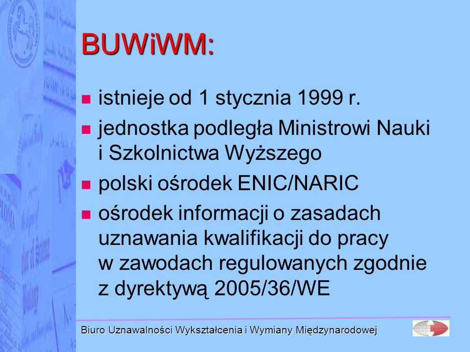 Biuro Uznawalności Wykształcenia i Wymiany Międzynarodowej ENIC/NARIC ENIC (European National Information Centre for Academic Recognition and Mobility) Europejska Sieć Krajowych Ośrodków Informacji nt.