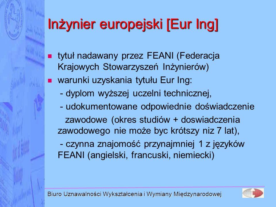 Biuro Uznawalności Wykształcenia i Wymiany Międzynarodowej Inżynier europejski [Eur Ing] tytuł nadawany przez FEANI (Federacja Krajowych Stowarzyszeń