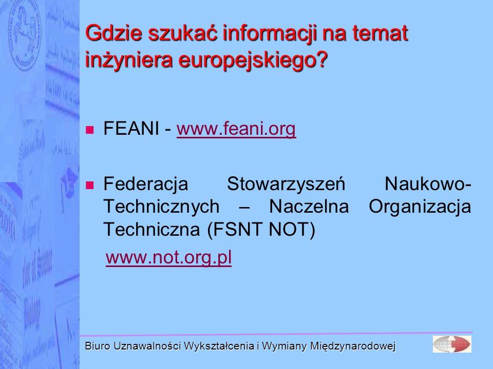 Biuro Uznawalności Wykształcenia i Wymiany Międzynarodowej Gdzie szukać informacji na temat inżyniera europejskiego? FEANI - www.feani.org Federacja S