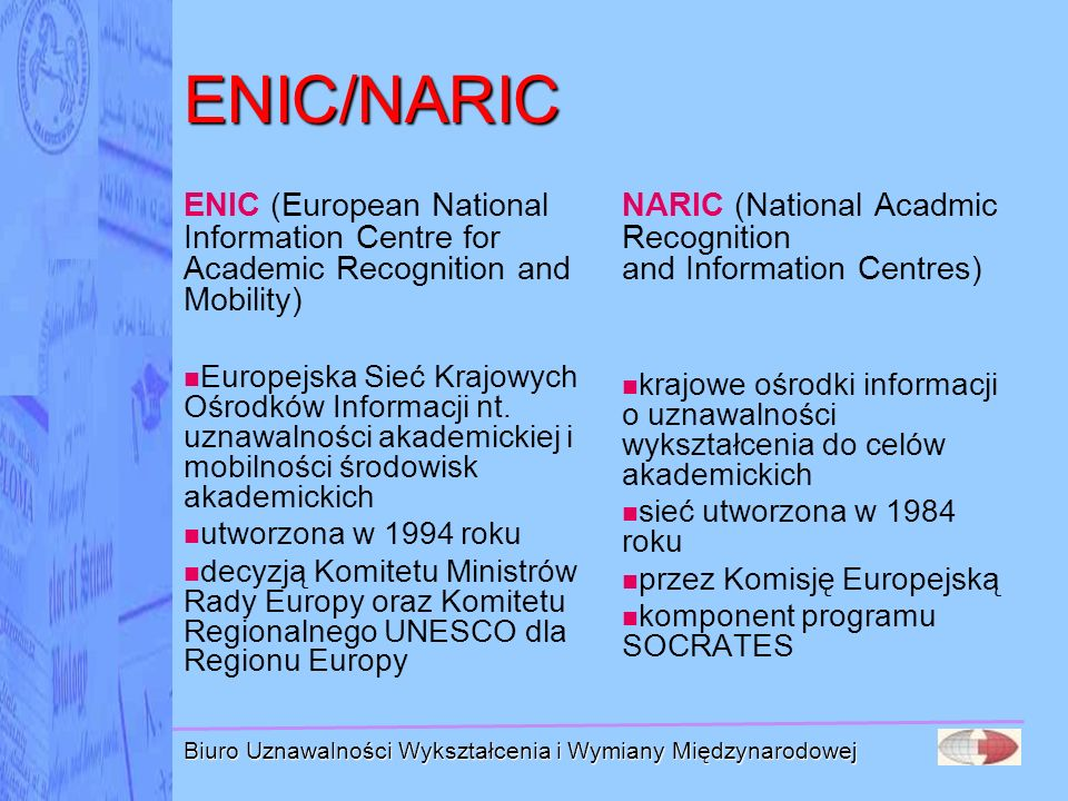 Biuro Uznawalności Wykształcenia i Wymiany Międzynarodowej Uznanie kwalifikacji do wykonywania zawodów regulowanych w krajach UE odpowiedni poziom wykształcenia kwalifikacje dające prawo wykonywania danego zawodu w państwie, w którym zostały uzyskane dotyczy obywateli UE, którzy ponad połowę kształcenia i szkolenia zawodowego odbyli na terenie UE