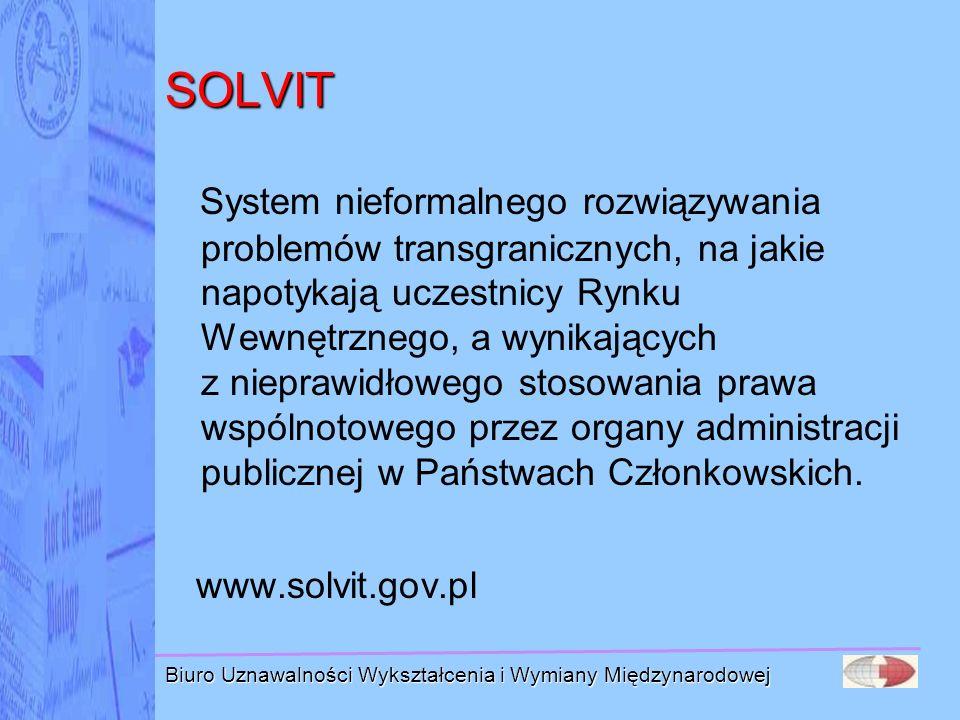 Biuro Uznawalności Wykształcenia i Wymiany Międzynarodowej SOLVIT System nieformalnego rozwiązywania problemów transgranicznych, na jakie napotykają u