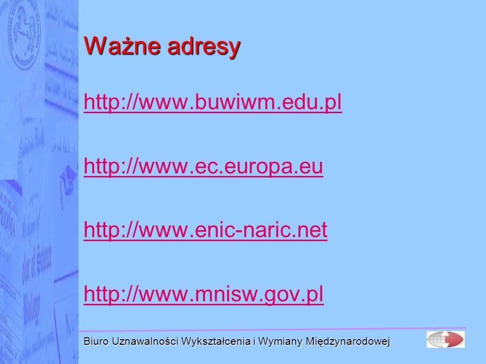 Biuro Uznawalności Wykształcenia i Wymiany Międzynarodowej Ważne adresy http://www.buwiwm.edu.pl http://www.ec.europa.eu http://www.enic-naric.net htt