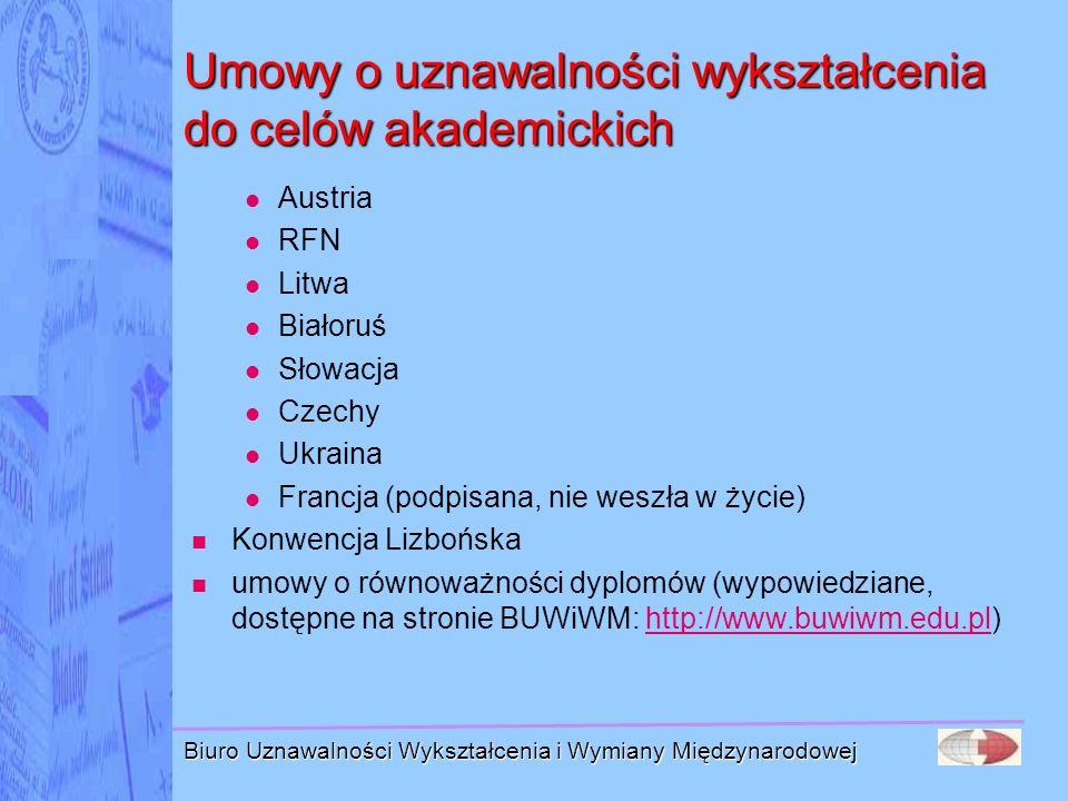 Biuro Uznawalności Wykształcenia i Wymiany Międzynarodowej Umowy o uznawalności wykształcenia do celów akademickich Austria RFN Litwa Białoruś Słowacj