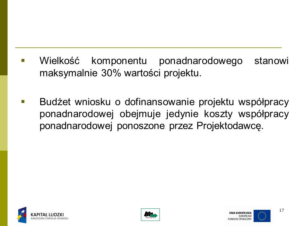 17 Wielkość komponentu ponadnarodowego stanowi maksymalnie 30% wartości projektu.
