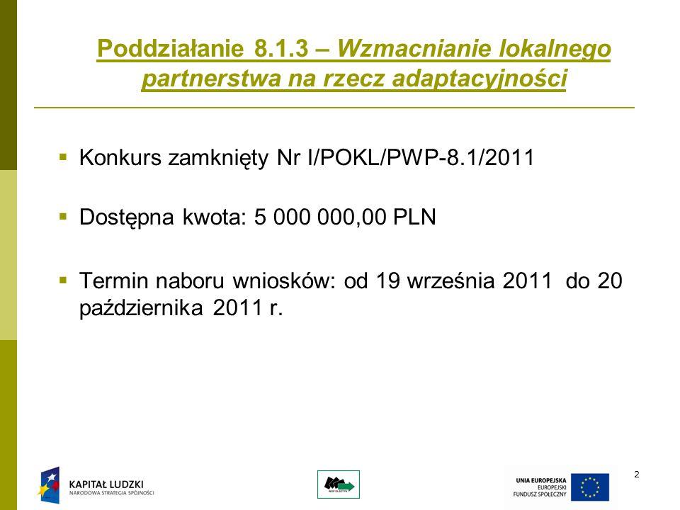 2 Poddziałanie 8.1.3 – Wzmacnianie lokalnego partnerstwa na rzecz adaptacyjności Konkurs zamknięty Nr I/POKL/PWP-8.1/2011 Dostępna kwota: 5 000 000,00 PLN Termin naboru wniosków: od 19 września 2011 do 20 października 2011 r.