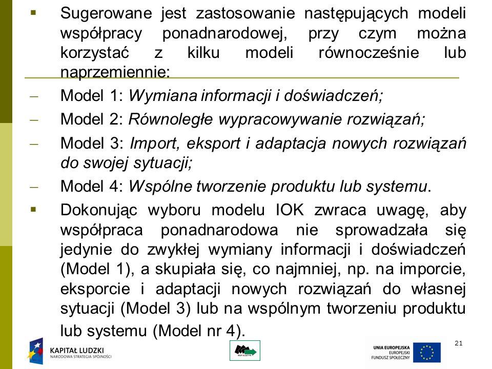 21 Sugerowane jest zastosowanie następujących modeli współpracy ponadnarodowej, przy czym można korzystać z kilku modeli równocześnie lub naprzemiennie: Model 1: Wymiana informacji i doświadczeń; Model 2: Równoległe wypracowywanie rozwiązań; Model 3: Import, eksport i adaptacja nowych rozwiązań do swojej sytuacji; Model 4: Wspólne tworzenie produktu lub systemu.