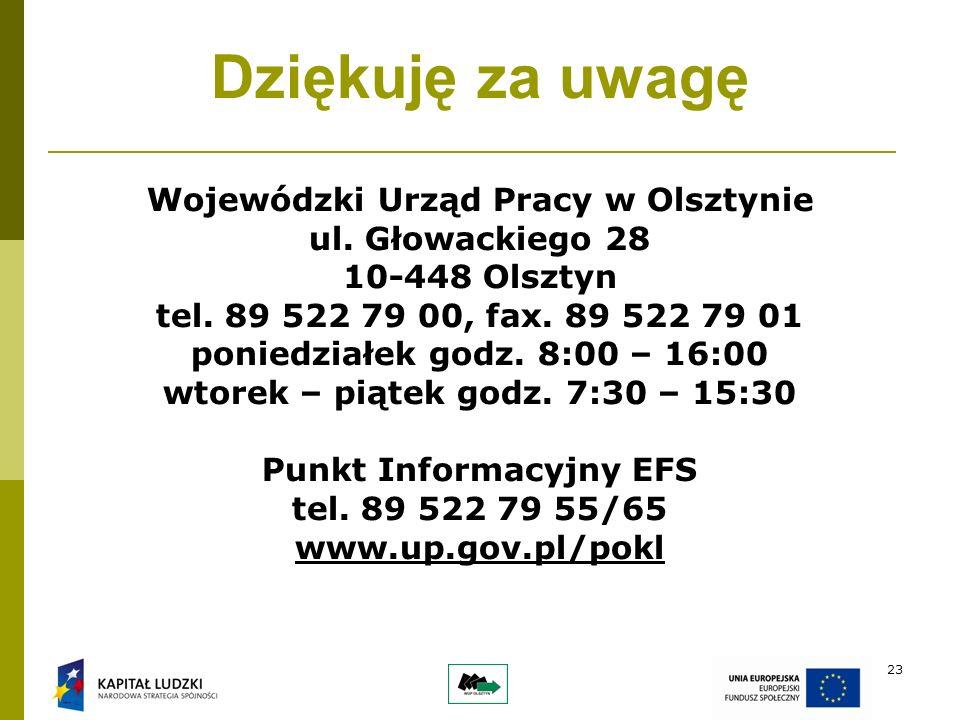23 Dziękuję za uwagę Wojewódzki Urząd Pracy w Olsztynie ul.
