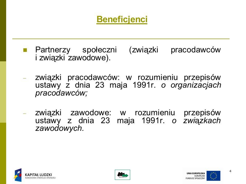 4 Beneficjenci Partnerzy społeczni (związki pracodawców i związki zawodowe).