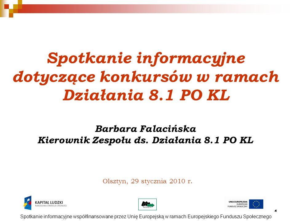 2 Działanie 8.1 Rozwój pracowników i przedsiębiorstw w regionie Poddziałanie 8.1.1 – Wspieranie rozwoju kwalifikacji zawodowych i doradztwo dla przedsiębiorstw (1 i 2 typ operacji wg SzOP) Konkurs otwarty Nr I/POKL/8.1.1/2010 Dostępna kwota: 28 000 000,00 PLN Termin ogłoszenia: I kwartał 2010 r.