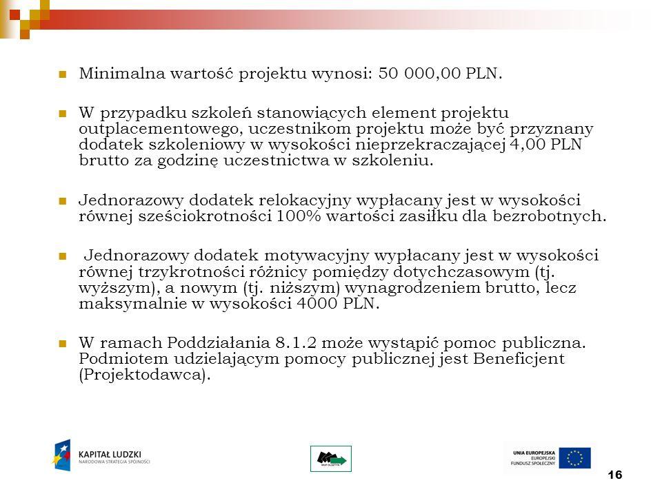 16 Minimalna wartość projektu wynosi: 50 000,00 PLN.