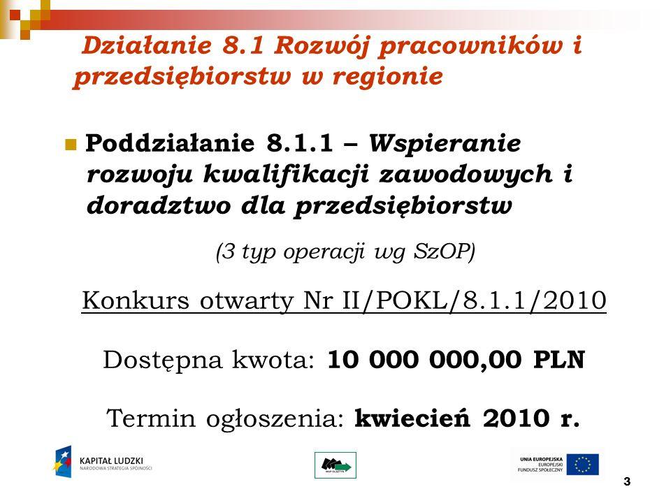 4 Działanie 8.1 Rozwój pracowników i przedsiębiorstw w regionie Poddziałanie 8.1.2 – Wsparcie procesów adaptacyjnych i modernizacyjnych w regionie (outplacement) Konkurs otwarty Nr I/POKL/8.1.2/2010 Procedura przyspieszonego wyboru projektów – tzw.