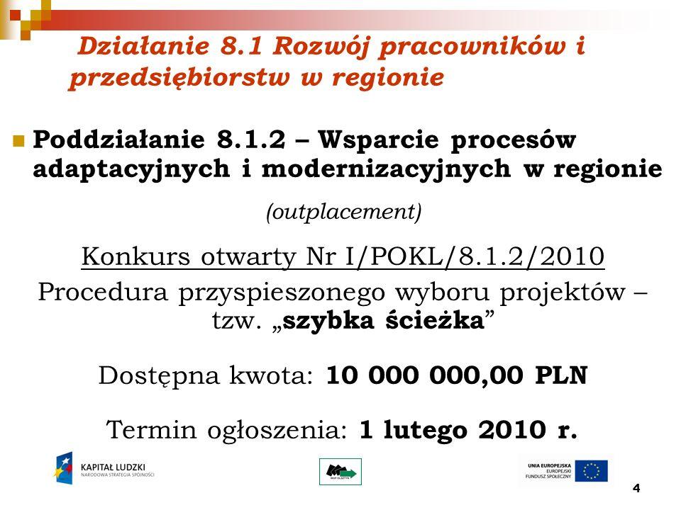 15 Podstawowe założenia konkursowe: Nabór wniosków o dofinansowanie realizacji projektów będzie prowadzony od 08.02.2010r.