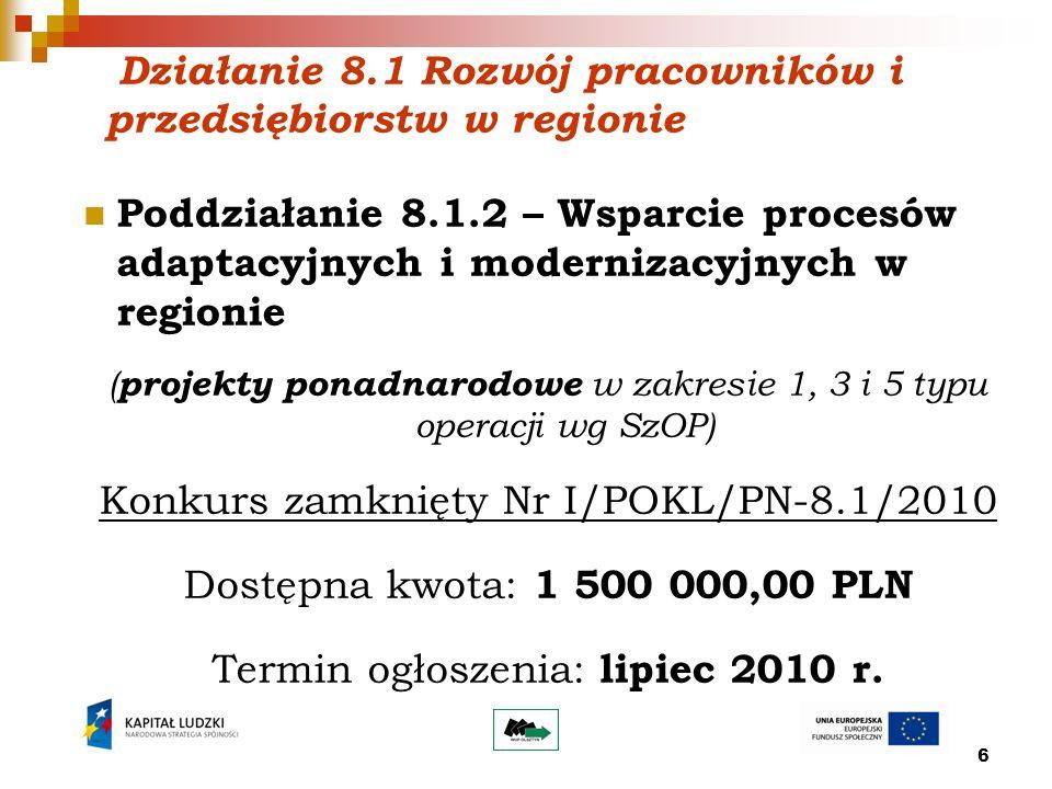 6 Działanie 8.1 Rozwój pracowników i przedsiębiorstw w regionie Poddziałanie 8.1.2 – Wsparcie procesów adaptacyjnych i modernizacyjnych w regionie ( projekty ponadnarodowe w zakresie 1, 3 i 5 typu operacji wg SzOP) Konkurs zamknięty Nr I/POKL/PN-8.1/2010 Dostępna kwota: 1 500 000,00 PLN Termin ogłoszenia: lipiec 2010 r.