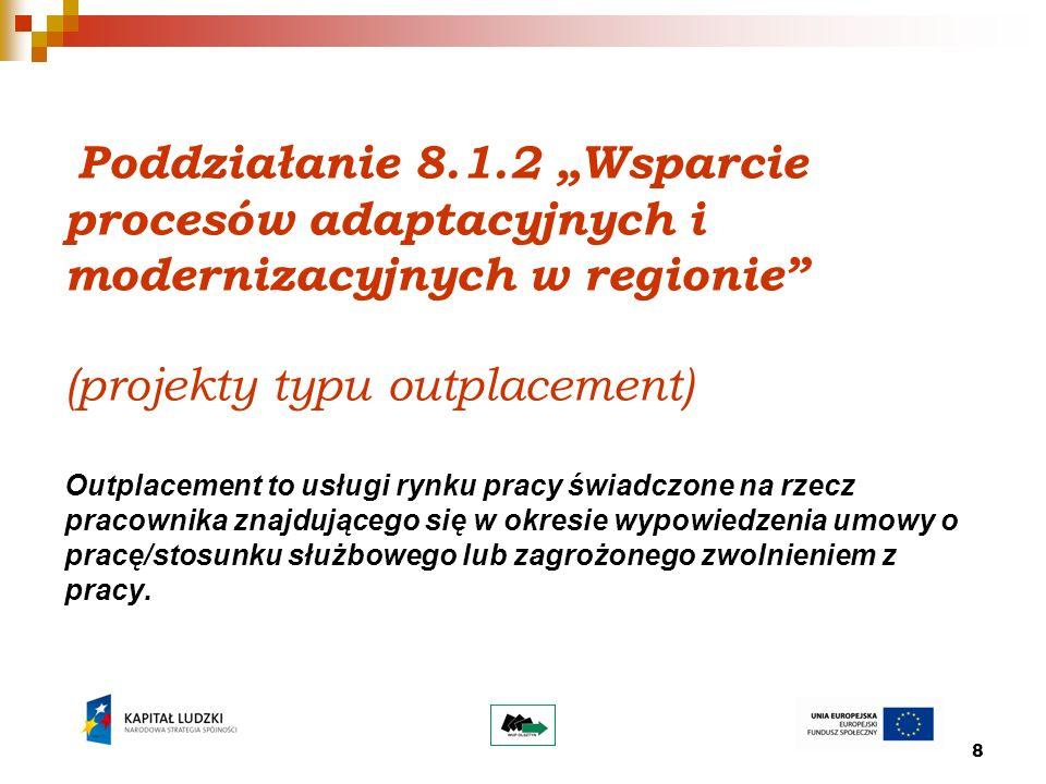 8 Poddziałanie 8.1.2 Wsparcie procesów adaptacyjnych i modernizacyjnych w regionie (projekty typu outplacement) Outplacement to usługi rynku pracy świadczone na rzecz pracownika znajdującego się w okresie wypowiedzenia umowy o pracę/stosunku służbowego lub zagrożonego zwolnieniem z pracy.