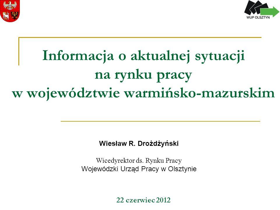 Wojewódzki Urząd Pracy w Olsztynie Struktura wydatków na aktywne formy z Funduszu Pracy w województwie warmińsko-mazurskim (styczeń-maj 2012)
