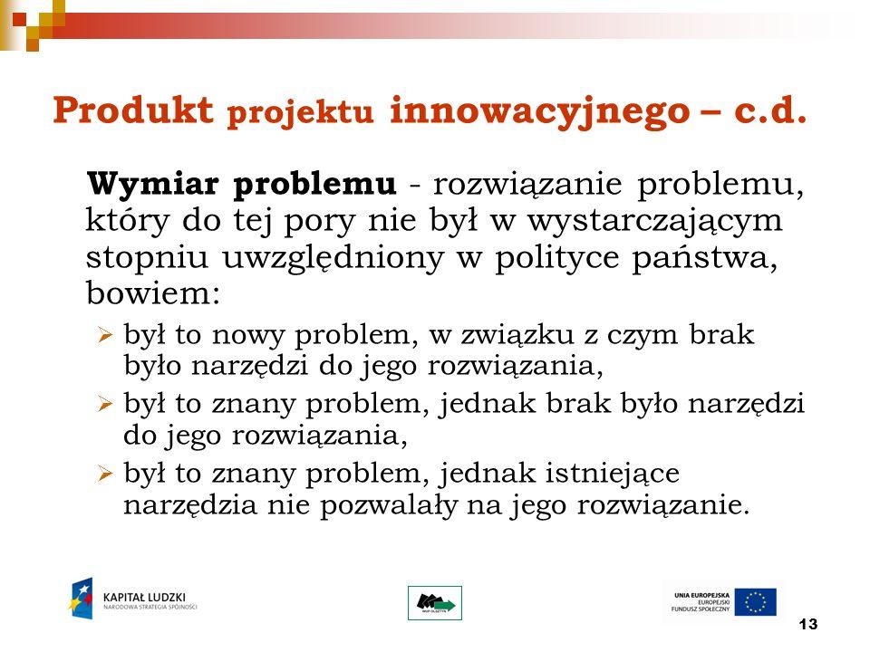 13 Produkt projektu innowacyjnego – c.d.