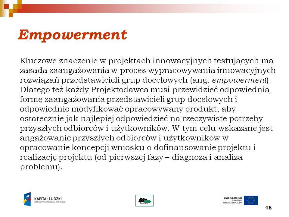 15 Kluczowe znaczenie w projektach innowacyjnych testujących ma zasada zaangażowania w proces wypracowywania innowacyjnych rozwiązań przedstawicieli grup docelowych (ang.